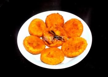 脆皮南瓜豆沙饼的图示手工制作