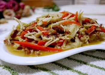肉丝炒金针菇的手工制作(图示教材)