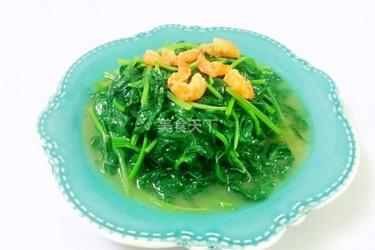 圖示:蝦米炒紅薯葉的烹制方法