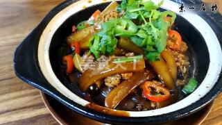 農家美食:砂鍋燉素末蘿卜條的手工做法(圖解)