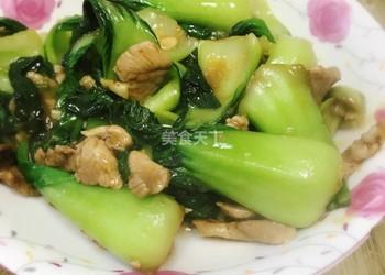油菜炒肉的自制方法(图解)