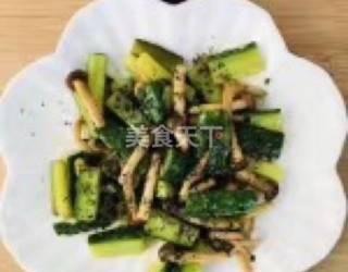 海鮮菇炒黃瓜的手工做法(圖示)