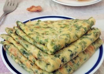 油菜葉雞蛋餅的手工制作(圖文路演)