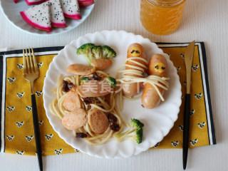 三文魚腸香菇醬意面的圖示做法